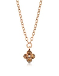 Rebecca Candy 18 Kt Rose Gold Over Bronze Necklace W Flower Charm Pink