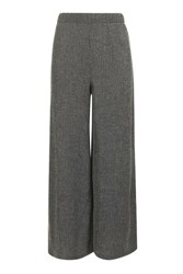 Topshop Textured Wide Leg Trousers Grey