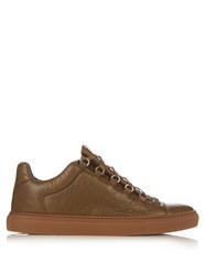 Balenciaga Arena Low Top Leather Trainers Khaki