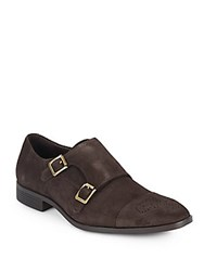 Saks Fifth Avenue Suede Monk Strap Loafers Chocolate