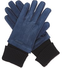 Burberry Waffle Knit Cuff Suede Gloves Ink