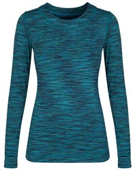 Cuddl Duds Long Sleeve Crew Neck Top Blue Multi