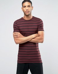 Asos Longline Muscle T Shirt In Stripe With Crew Neck In Burgundy Oxblood Black Red