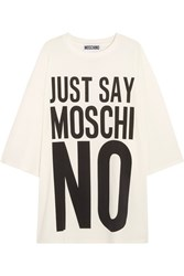 Moschino Oversized Printed Cotton Jersey T Shirt Dress White