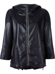 Brunello Cucinelli Leather Hooded Jacket Black