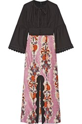 Anna Sui Hearts Garland Twill And Silk And Cotton Blend Jacquard Maxi Dress Black