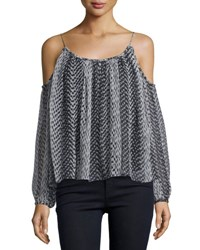 Elizabeth And James Maylin Cold Shoulder Ikat Blouse Black Ivory Blkivo