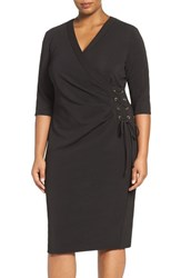 Gabby Skye Plus Size Women's Faux Wrap Dress Black