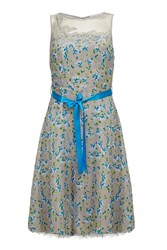 Almost Famous Painted Floral Chiffon Dress Grey