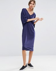 Asos Midi T Shirt Dress With Kimono Sleeve Navy