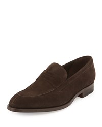 Magnanni Calf Suede Penny Loafer Brown