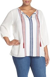 Plus Size Women's Caslon Embroidered Split Neck Peasant Blouse Ivory Red Embroidery