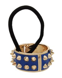 L. Erickson Spiked Enamel Ponytail Holder With Cuff Blueberry