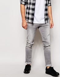 Asos Skinny Jeans With Abrasions Lightgrey