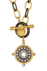 Freida Rothman 14K Gold Plated Sterling Silver Cz Nautical Charm Necklace Black