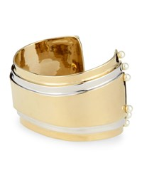 Two Tone Cuff With Pearly Studs St. John Collection Light Gold
