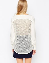 Closet Long Sleeve Blouse With Lace Back Cream