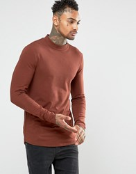 Asos Longline Muscle Long Sleeve T Shirt With Turtle Neck And Curve Hem Brown