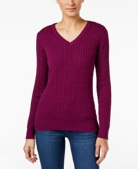 Karen Scott Petite Cable Knit Marled Sweater Only At Macy's Purple Passion Marl