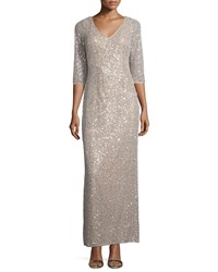 Kay Unger New York 3 4 Sleeve Sequin Drape Back Column Gown Champagne
