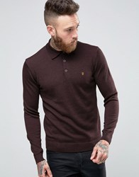 Farah Knitted Polo Shirt In Merino Wool Slim Fit Bordeaux Bordeaux Red