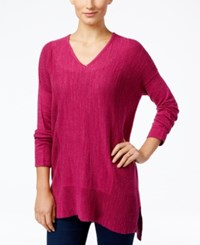 Styleandco. Style Co. V Neck Long Sleeve Tunic Only At Macy's Magenta Blossom
