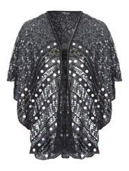 Jane Norman Embellished Sequin Shawl Silver