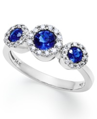 Effy Collection Gemma By Effy Sapphire 3 4 Ct. T.W. And Diamond 1 6 Ct. T.W. Three Stone Ring In 14K White Gold