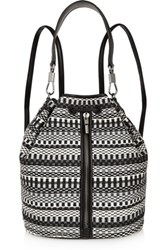 Elizabeth And James Cynnie Sling Convertible Leather Trimmed Jacquard Backpack Charcoal