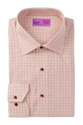 Lorenzo Uomo Long Sleeve Trim Fit Windowpane Dress Shirt Red