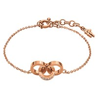 Folli Follie Touch Crystal Link Bracelet Rose Gold