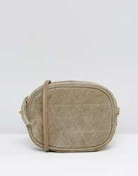 Asos Quilted Oval Suede Cross Body Bag With Chain Strap Grey