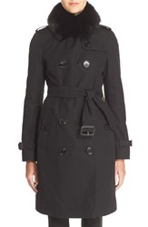 Women's Burberry London 'Kensington' Genuine Fox Fur Collar Trench Coat Black