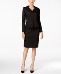 Le Suit Jacquard Three Button Skirt Black