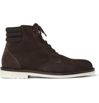Loro Piana Icer Walk Cashmere Trimmed Suede Boots Chocolate