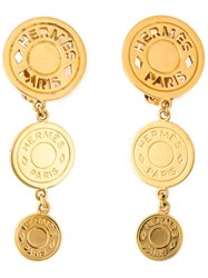 Hermes Vintage Logo Sphere Earrings Metallic
