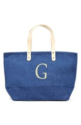 Cathy's Concepts 'Nantucket' Personalized Jute Tote Blue Blue G