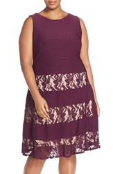 Gabby Skye Plus Size Women's Lace Inset Pintuck Fit And Flare Dress Eggplant Nude