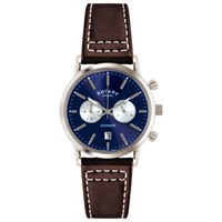 Rotary Men's Avenger Sport Chronograph Leather Strap Watch Brown Blue