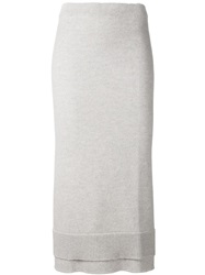 Victoria Beckham Layered Knit Midi Skirt Grey