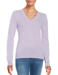 Lord And Taylor Basic V Neck Cashmere Sweater Iris Heather