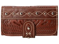 American West Over The Rainbow Tri Fold Wallet Carmel Wallet Handbags Brown