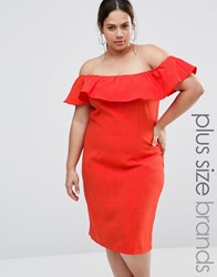 Live In Love Plus Bardot Dress With Ruffle Detail Orange Red