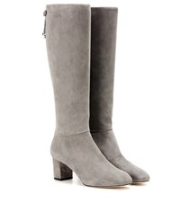Loro Piana Liza Suede Knee High Boots Grey