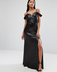 Tfnc Sweetheart Sequin Maxi Dress With Cold Shoulder Black