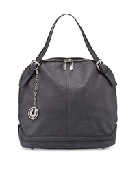 Charles Jourdan Wylie Snake Embossed Leather Dome Tote Bag Black