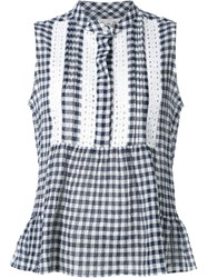 Sea Gingham And Lace Sleeveless Blouse Blue