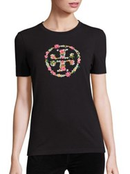 Tory Burch Kimble Cotton Embroidered Logo Tee Black