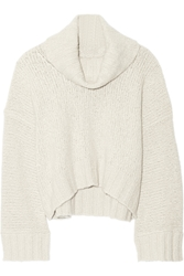 Donna Karan Chunky Knit Cashmere And Silk Blend Turtleneck Sweater