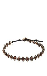Camellia Westbury Leather And Gems Necklace Brown